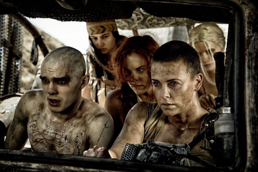 Charlize Theron and Nicolas Hoult drive the women of the wasteland to a safe haven.