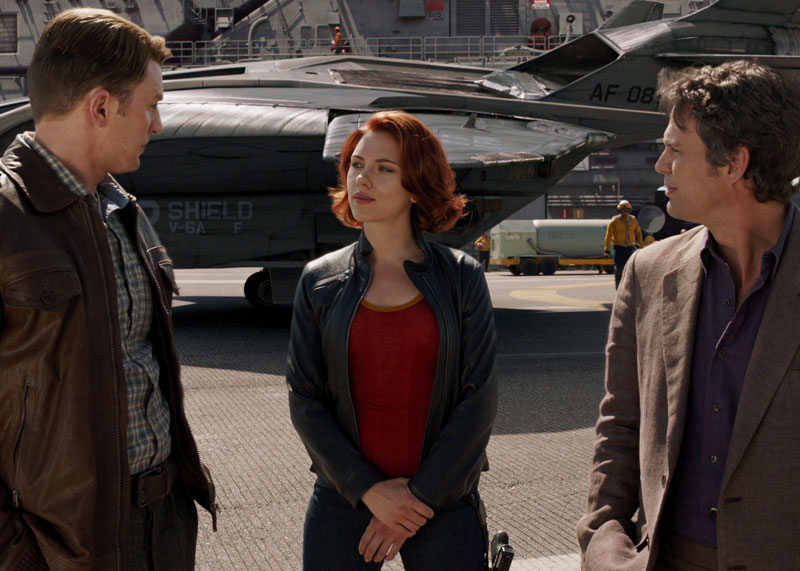 Black Widow with Captain America and Bruce Banner in Avengers