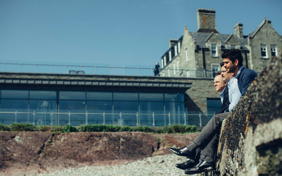 Colin Farrell contemplates with his friends in 'The Lobster'
